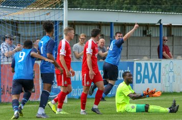 The opening goal by Callum Ball