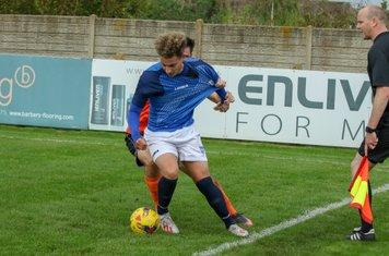 The Leiston defence struggles to cope with Edward-John