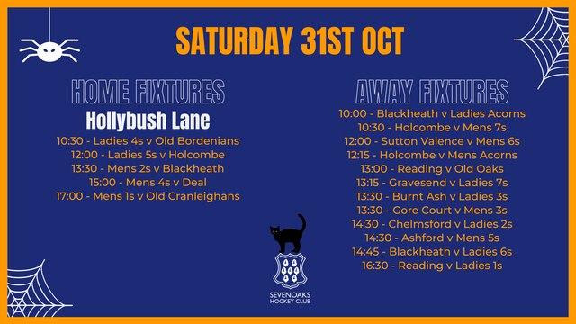 31st October Fixtures List