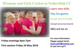 Womens and Girls Cricket at Netherfield CC