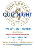 Quiz Night - Thu July 18th 7:30PM
