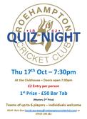 Quiz Night - Thursday October 17th 7:30PM