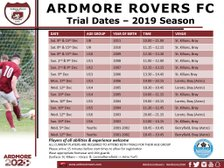 Ardmore Rovers FC Trial Dates - Updated