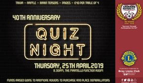 40th Anniversary Quiz Night - Thursday April 25th