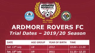 Ardmore Rovers FC Trial Dates For The 2019/20 Season