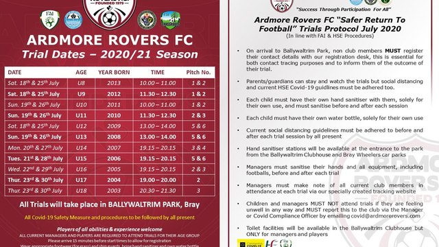Ardmore Rovers FC Trial Dates For The 2020/21 Season