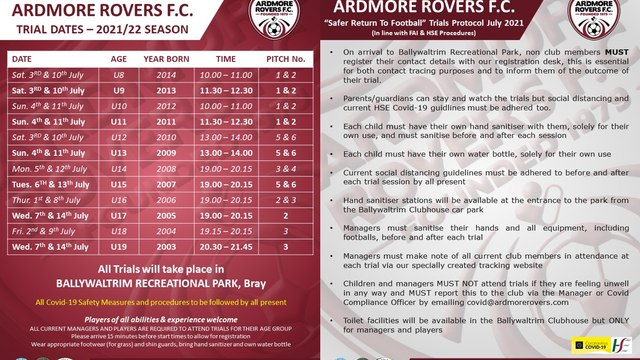 Ardmore Rovers FC Trial Dates For The 2021/22 Season