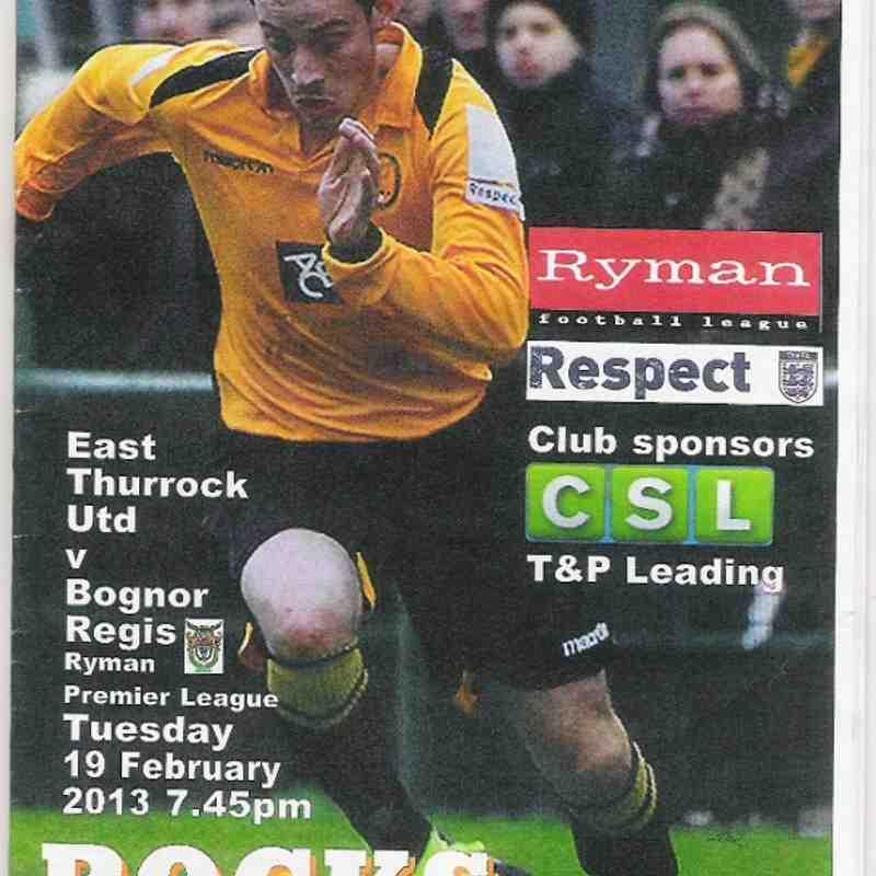 East Thurrock United Vs Bognor Regis Town.19/02/2013