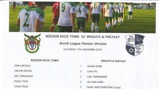 Bognor Regis Town Vs Wingate & Finchley 17/11/2018