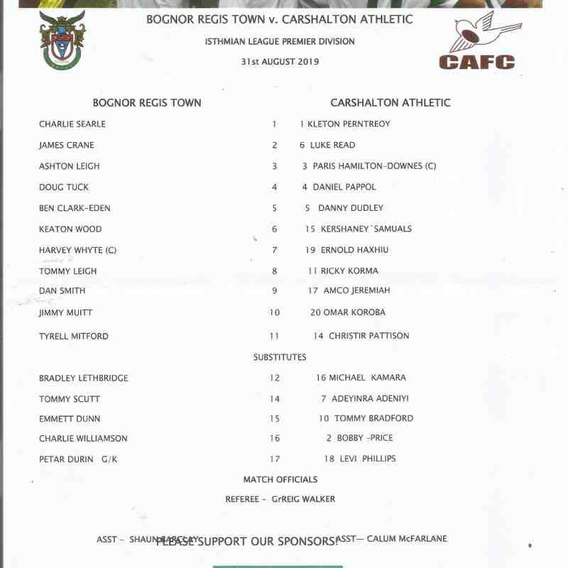 Bognor Regis Town Vs Carshalton Athletic 31/08/2019