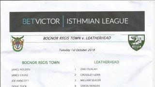 Bognor Regis Town Vs Leatherhead 01/10/2019