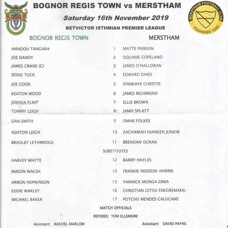 Bognor Regis Town Vs Merstham 16/11/2019