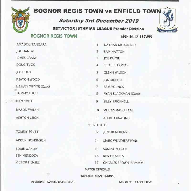 Bognor Regis Town Vs Enfield Town 03rd December 2019