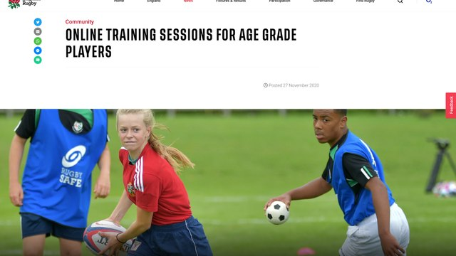 Online Rugby training & activities for young players