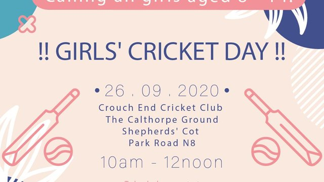 GIRLS' CRICKET DAY - CALLING ALL GIRLS AGED 8 - 14 (26th September 2020)