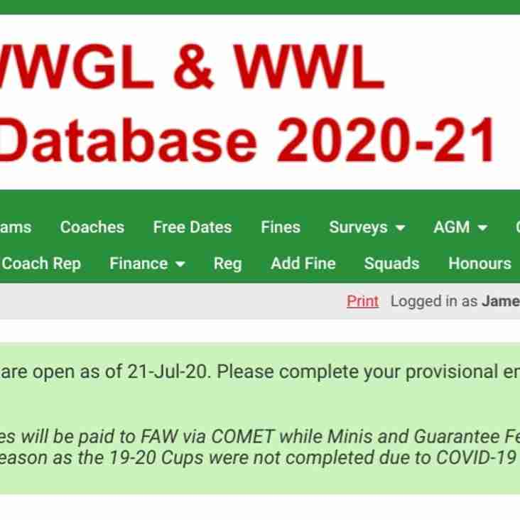 SWWGL 2020-21 with 62 Club & 193 Team Entries