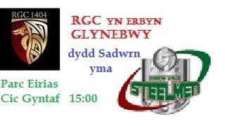 RGC v Ebbw Vale This Saturday 8th April. K.O. 15:00