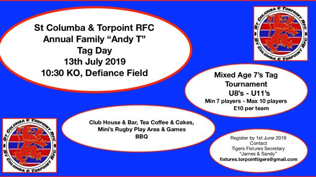 Mixed Age 7's Tag Tournament U8's - U11's on Saturday 13th July at Torpoint