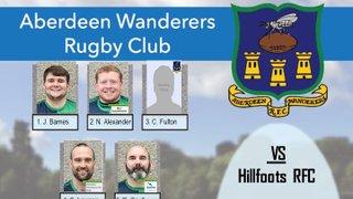 Aberdeen Wanderers RFC 1st XV v Hillfoots RFC - Team Announcement