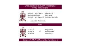 26/27th October Fixtures - update