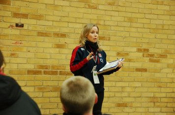 First the lunch at Richmond College and a run-through of the day by the lovely Carol from the RFU publicity team