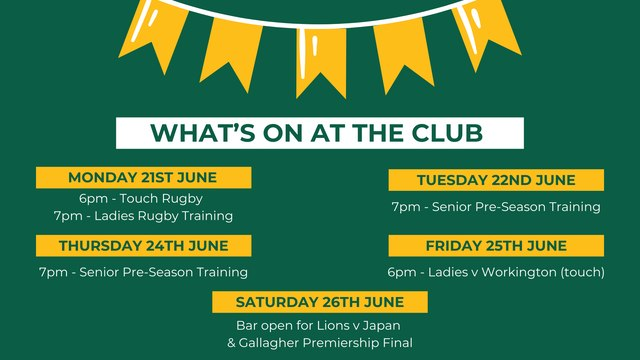 What's on at the club this week