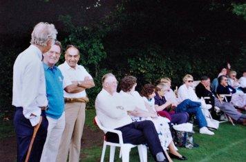 1992 Frank Sharman, Les Wood, Sham Nayyar, Arthur Hughes+other supporters at  Fives and Heronians