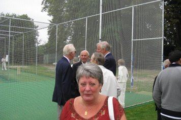 2009 Tricia Kaye at the nets opening while frank sharman, holms carlile, david watts and wag wardle discuss