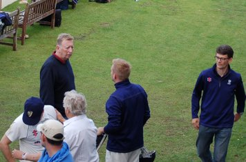 201z Dave Boothman in discussion as Colin Bentall strides by