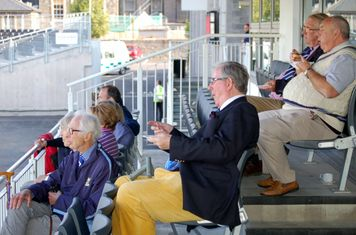 2014t Peter Browne, Tony Schaffer  & Bruce Beatty enjoying tea- Frank Sharman & the rest watch intently