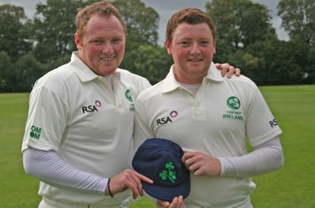 2011 09 Stuart Poynter getting Ireland cap from brother Andrew