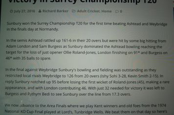 2016 07 Surrey 20-20 match report
