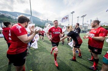 Societe Generale Valley vs Natixis Hong Kong Football Club during Saxo Capital Markets Men's Premiership 2019-2020 of Valley RFC Club Day 2020 at Happy Valley Pitch 6, Happy Valley, Causeway Bay, Hong Kong, on 18 January 2020, Hong Kong SAR, China. Photo