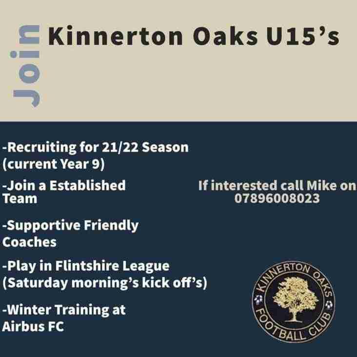 Kinnerton Oaks looking for players