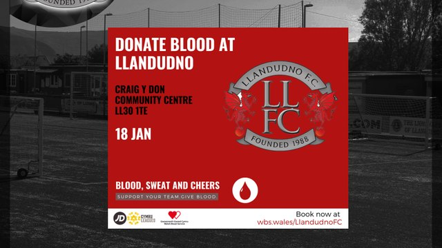 Welsh Blood Service teams up with FAW's Cymru Leagues & WPWL urging Llandudno FC supporters to save lives