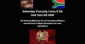 Saturday 31st July Lions V SA 2nd Test BBQ
