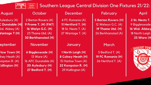 Southern League Fixtures 2021/22
