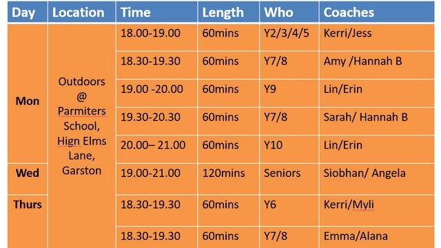 Coaching Schedule Spring/Summer 2021