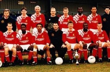 95-96 Andy McDade ,Cliff Rapley, Christian Metcalfe,Paul Fishenden,Davd Hook,Neil Fraser,Robert Marshall,Brian Jones,David Clarke.Front :Nko Ekoku,Lee Endersby,Gary Ellis,Mark Xavier,Harry Manoe (Manager),Jason Court,John Hurlock,Grant Robinson,Sean James