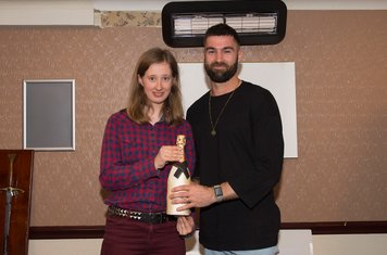 Ryan Moss was the Vice-Presidents' Association's Player of the Month for April.  Junior VP Francesca Drummond handed over the champagne, kindly sponsored by the Willis Motor Company.