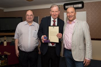 Peter Rogers's 50 years in a boardroom capacity has already been recognised by the club through the renaming of the ground as The Rogers Family Stadium.  But wider recognition has also been given.  Here Peter is presented with a framed letter from the Foo