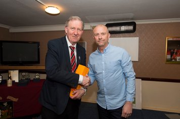 The players and management team also presented Peter Rogers with a gift to mark his 50 years of Board-level involvement at Harrow Borough.  Steve Baker did the honours.