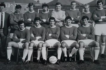 1969-70  R. Churchill (Manager), John Wickham, Tony Willmott, Brian Amyes, Terry Self, John Wood, Andy Blake, T. Wakeman, B. Parker (Trainer) front row.  Roger Chapman, Ian Harvey, Clive Coast, John Eales, Ted Yorke.