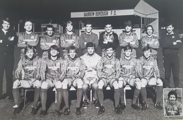 1987-88; Steve Myers (Kitman),Trevor How,Russell Townsend,Steve Bateman,Neil Deamer,Ken Lavender,Paul Morris  Steve Long,Alan Randall (ass.)Front:  Ray Duffy,Robbie Johnson,Lawrence Holmes,Keith Chamberlin,Mark Adams,Paul Dawson,Colin Payne,(Steve Emmanue