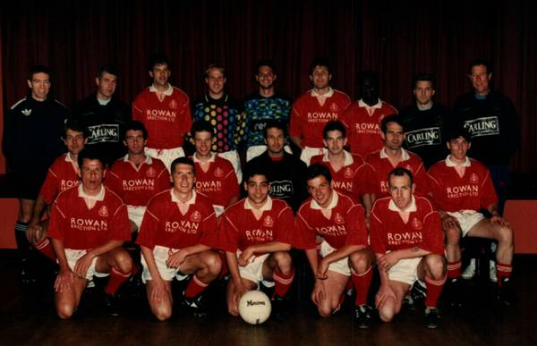 1994/95 B.Seabrook (coach) D. Kennedy(ass.Manager) B.Booker D.Hook  N,Bttacinni, D Bensted, J Horlock, Cliff Rapley (coach)J Parish(phsio) middle;T. Benning E O,Connor  N Fraser H Manoe(manager) C Metcalfe T Knight D Browne front; G Pearce L Endersby J Sh