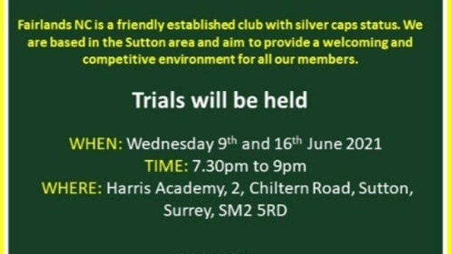 Trials for Seniors on 9th and 16th June