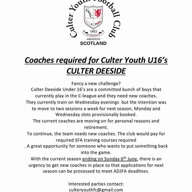 Culter Deeside 2006s Coaches Wanted