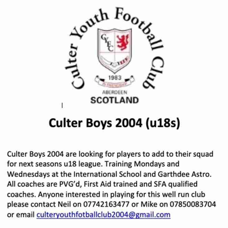 Culter Boys 18s - DoB 2004 Seek Players