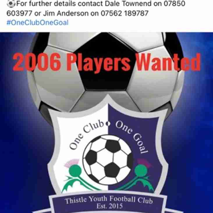 Thistle Youth FC 2006s Seek Players
