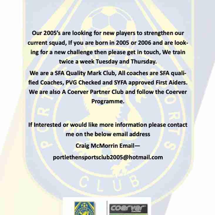Portlethen SC 15s Seek Players